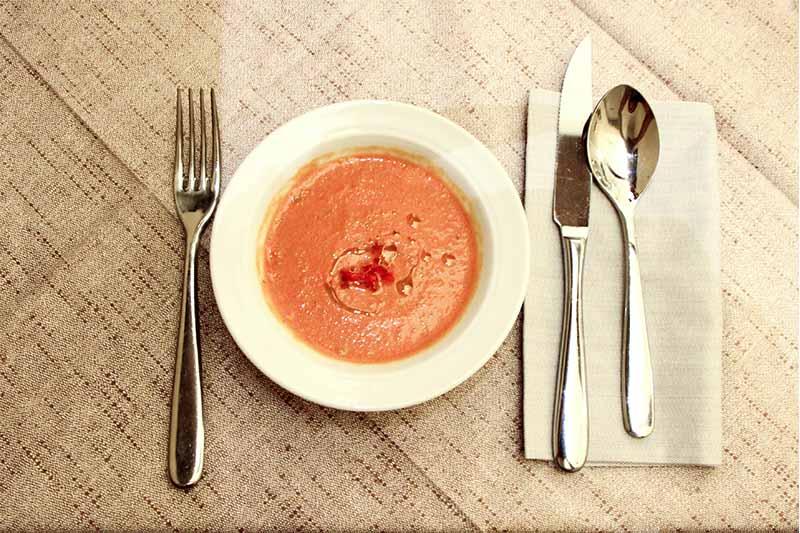 All'interno di un piatto bianco un gazpacho crudista dal colore arancione, accanto delle posate.