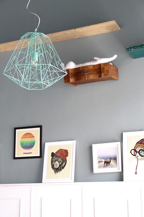 Interno del locale Romeow: una lampada azzurra, vari quadri e un cassetto attaccato al muro, all'interno un gatto che dorme.